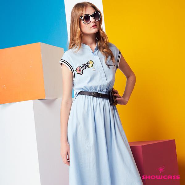 【SHOWCASE】休閒運動風蓋袖鬆緊腰後簍空襯衫式洋裝(藍)