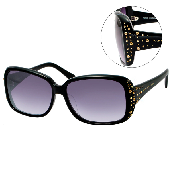 【PARIS HILTON 派瑞絲希爾頓】時尚方框鉚釘太陽眼鏡-黑框漸層紫鏡面(#PH6548A)