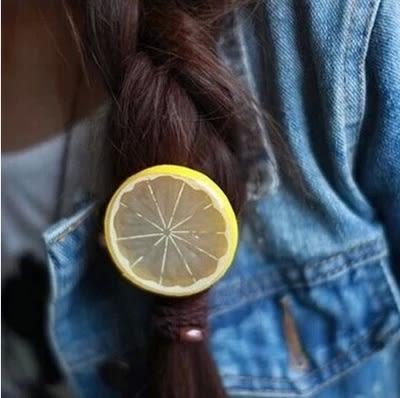 檸檬片可愛髮飾 清新水果超萌髮圈頭飾【B5033】