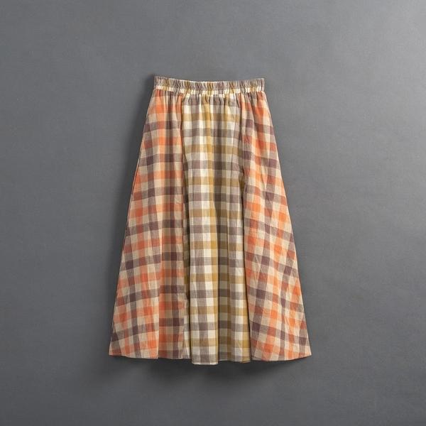 Queen Shop【03020844】女裝 親子系列 拼接格紋傘擺長裙*現+預*