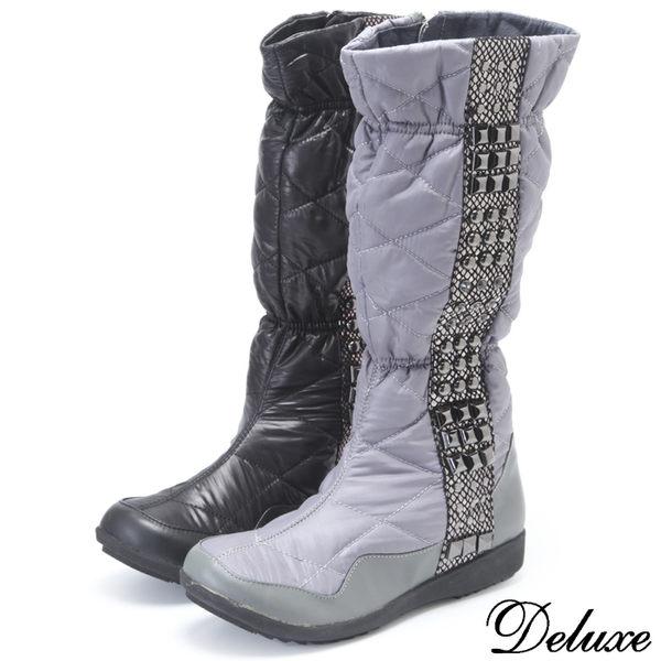 Deluxe-真皮防水羽絨輕柔金屬扣中筒太空靴(黑★灰)