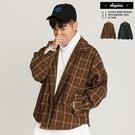 外套 層次搭配短版設計 雅痞格紋外套【T...