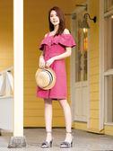 春夏7折[H2O]吊帶可拆露肩兩穿彩色牛仔膝上洋裝 - 粉/淺藍/淺紫色 #9684002