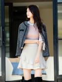 秋冬8折[H2O]絨布波浪剪接褲裙內裡膝上短裙 - 黑/灰/粉紫色 #9632003