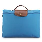 LONGCHAMP經典尼龍摺疊方形手提包(蔚藍色)480103-807
