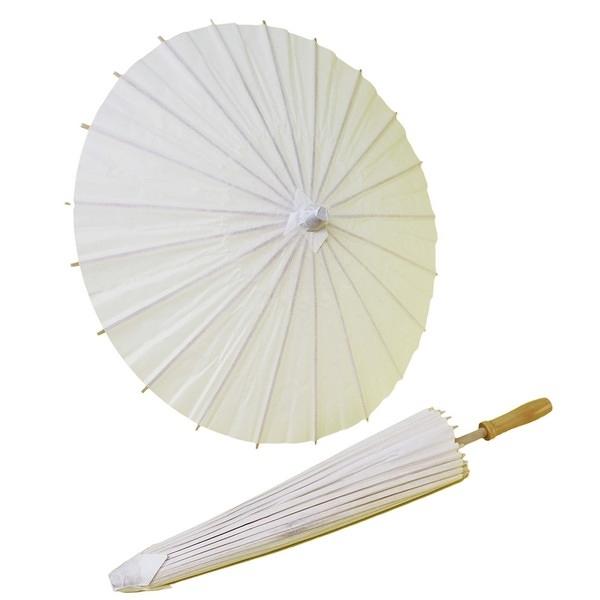 16吋空白紙傘 DIY白色綿紙傘 直徑約40cm/一支入{促80} 彩繪紙傘空白傘 彩繪傘 表演傘-6353