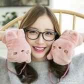 手套 掛脖保暖加厚加絨可愛韓版日繫學生卡通貓咪全指 Ifashion