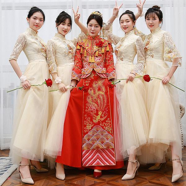 伴娘服 香?色 新款 中式 長款 中國風 新娘伴娘團宴會結婚禮服裙姐妹裙  降價兩天