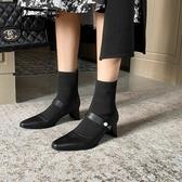 真皮女鞋34~40 2020帥氣百搭頭層牛皮拼接尖頭中跟襪靴 馬丁靴 短靴子