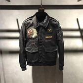 【熊貓】皮衣刺繡印第安人修身翻領皮夾克外套