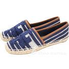 TORY BURCH Shaw 繡花條紋手工草編鞋(藍色) 1720376-23