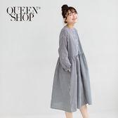 Queen Shop【01084337】黑白拚格組合中山領長袖棉麻洋裝*現+預*