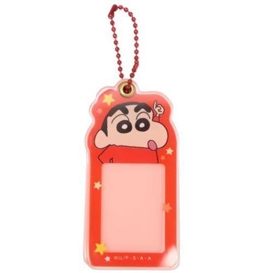小禮堂 蠟筆小新 造型壓克力相片吊飾 相框鑰匙圈 相片吊飾 (紅黃 大臉) 4548626-12474