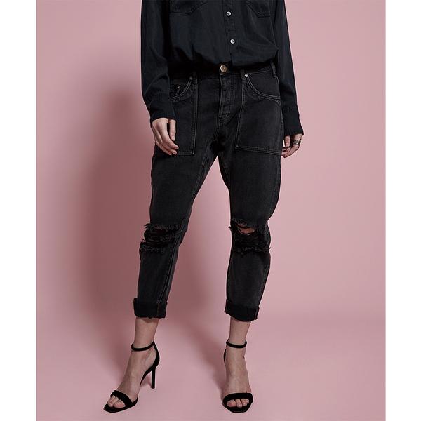 ONETEASPOON DOUBLE BASS SAINTS BOYFRIEND JEAN 牛仔褲-黑(女)