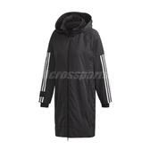 adidas 外套 Woven Hood Long Jacket 黑 白 女款 連帽 長版 運動休閒 【PUMP306】 FT1758