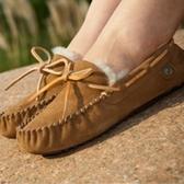 豆豆鞋羊毛絨平底-保暖加絨圓頭真皮女休閒鞋5色72o1【巴黎精品】