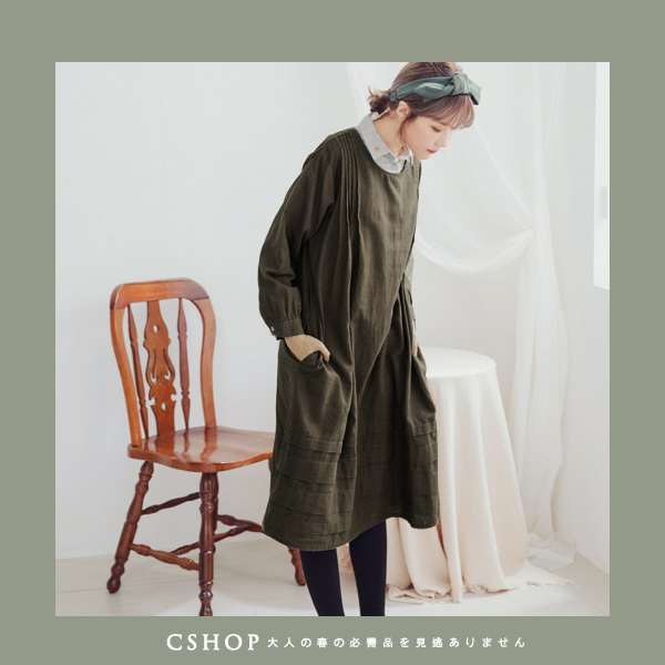 洋裝   森林系肩抓褶棉麻洋裝   二色-小C館日系