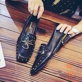 軟皮豆豆鞋女粗跟樂福單鞋氣質百搭棉鞋加絨【橘社小鎮】