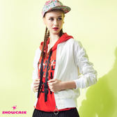 【SHOWCASE】隨性袖抽繩羅紋襬顯瘦軍外套(白)