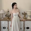 抹胸洋裝 法式性感抹胸露肩吊帶連身裙女夏季收腰氣質打底中長裙子-Ballet朵朵