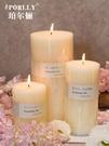 進口精油香薰蠟燭無煙香水型蠟燭婚慶教堂蠟燭凈化空氣白色大蠟燭 流行花園