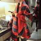保暖仿羊絨 雙面格子圍巾加大 獨具衣格