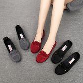 單鞋 女新款平底黑色工作鞋一腳蹬防滑大碼41豆豆鞋 EY3852『東京衣社』