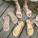 涼鞋.初夏甜美純色抓皺花苞繞踝草編厚底涼鞋.白鳥麗子