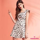 【SHOWCASE】可愛貓交叉領無袖寬襬洋裝(粉色)