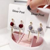 韓國 小清新 百搭 圓形 絨球 流蘇 耳環 女 日韓版 甜美 氣質 耳釘 配飾品