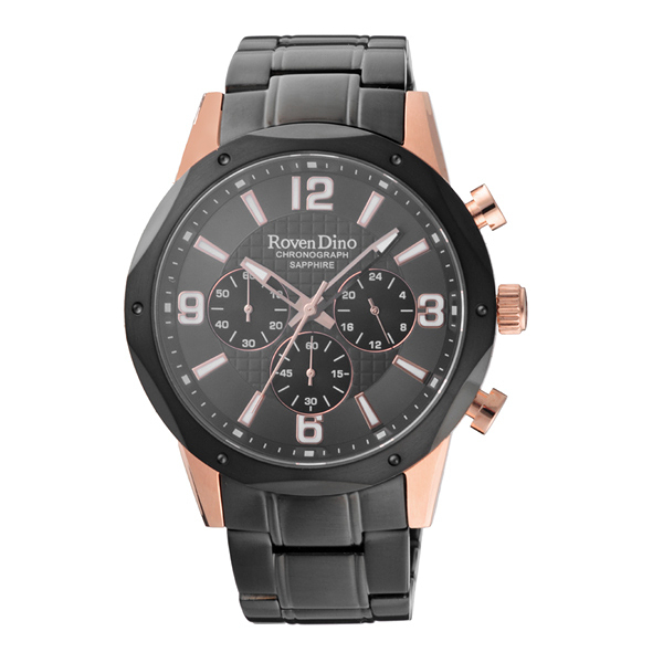 Roven Dino羅梵迪諾 細緻時尚三眼腕錶-黑x玫瑰金