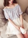 一字肩上衣女夏季新款韓版小清新蕾絲花邊吊帶露肩雪紡衫
