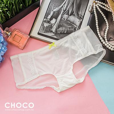 Choco Shop-幸運精靈‧高質感柔紗蕾絲透膚彈性內褲(白色) S~L
