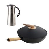 (組)炙鐵炒鍋30cm+自動開啟防漏油壺360ML-304不鏽鋼
