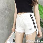 牛仔短褲女 夏季新款女裝織帶拼接破洞毛邊寬鬆顯瘦學生闊腿牛仔短褲女熱褲 芭蕾朵朵