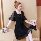 大尺碼洋裝裙 胖MM女裝新款雪紡遮肚時尚OL連身裙洋氣中長裙 EY6329『東京衣社』
