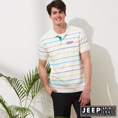 【JEEP】繽紛仲夏休閒短袖POLO衫-白