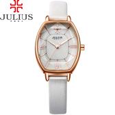 JULIUS 聚利時 櫻花初綻典雅皮錶帶腕錶-白色/25x37mm 【JA-920C】