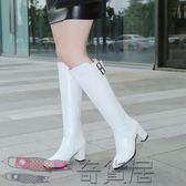 長靴女中高跟粗跟高筒靴