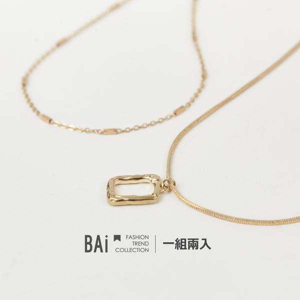 復古方框雙條疊戴項鍊-BAi白媽媽【316025】