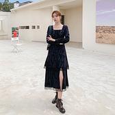 洋装 連身裙扎染連蕾絲小黑裙冷淡風高級感H325 韓依紡