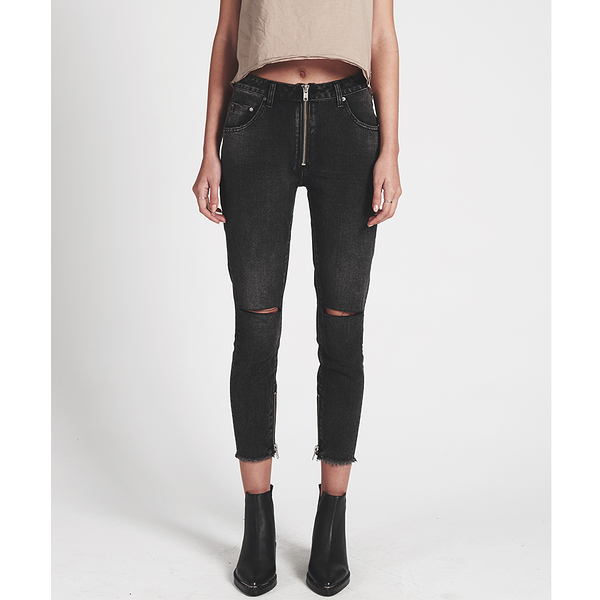 OneTeaspoon 牛仔褲  FREEBIRDS HIGH WAIST SKINNY-女(黑)