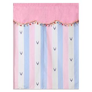 【新作部屋】北歐風簡約質感門簾(85*90公分)粉藍條紋
