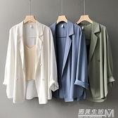 韓版防曬雪紡西裝外套女春夏薄款設計感小眾英倫風寬鬆垂感小西服 遇見生活