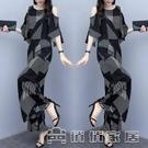 時尚套裝 時尚套裝女2021新款夏季韓版寬鬆顯瘦露肩上衣闊腿褲兩件套 16【快速出貨】