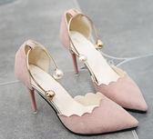 韓版百搭高跟涼鞋女夏2018新款包頭涼鞋女性感細跟淺口單鞋女鞋子第七公社