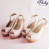 鞋子 鉤花繫踝魚口涼鞋楔形鞋-Ruby s 露比午茶