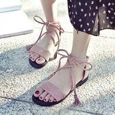2018新款涼鞋女夏學生韓版時尚百搭平底交叉綁帶簡約羅馬沙灘鞋潮    西城故事