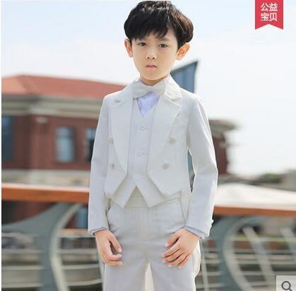 兒童禮服男 男童燕尾服套裝韓版白色 花童禮服男男童鋼琴演出服