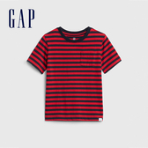 Gap男幼條紋印花圓領短袖T恤545904-紅色條紋